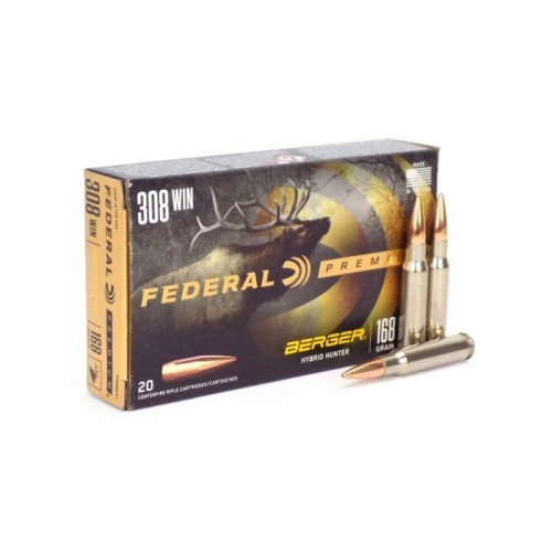 Federal Premium Berger Hybrid Hunter 308 Win 168gr Ammunition /20