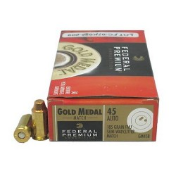 Federal 45 Auto 185gr FMJ-SWC Match Ammunition/50